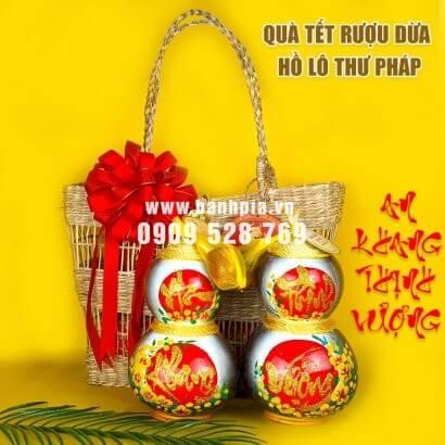 Giỏ quà tết rượu dừa hồ lô thư pháp An Khang - Thịnh Vượng