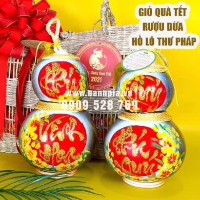 Giỏ quà tết rượu dừa hồ lô thư pháp Phú Quý