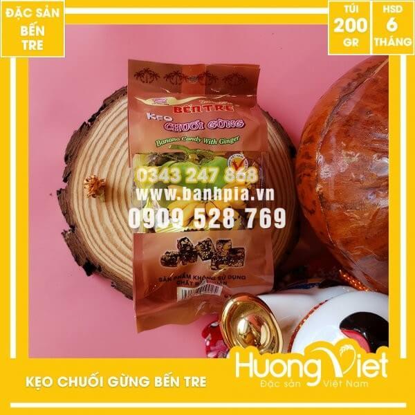 Kẹo chuối gừng Bến Tre, đặc sản miền Tây, bánh kẹo tết, đồ ăn vặt Việt Nam